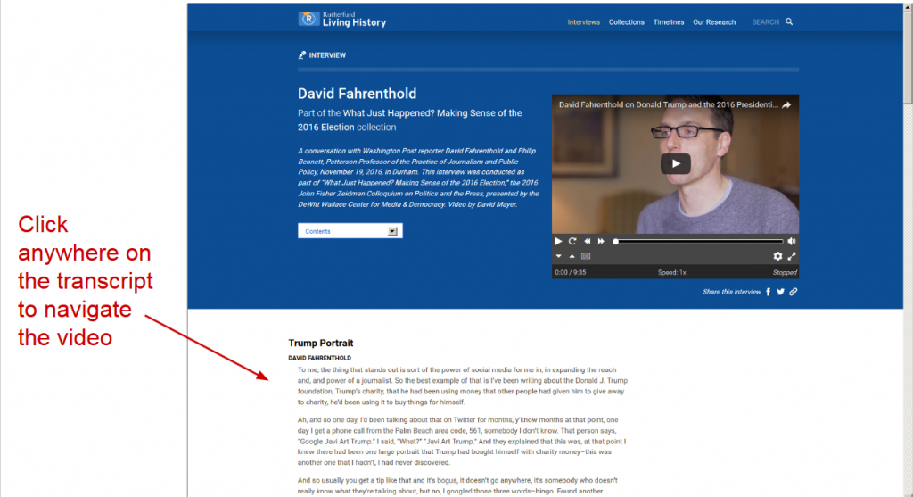 Screenshot of top of David Fahrenthold interactive transcript. Video in header, transcript below. Label pointing to transcript: click anywhere on the transcript to navigate the video.